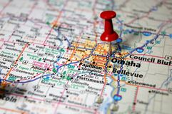 Omaha, Nebraska. A map of Omaha, Nebraska marked with a push pin stock image