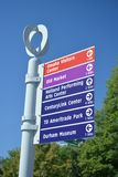 Omaha Nebraska Sign Post. Sign post in downtown Omaha, Nebraska showing directions to various attractions Royalty Free Stock Images