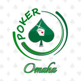 Omaha poker background with playing cards and card symbol Stock Images