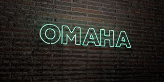 OMAHA -Realistic Neon Sign on Brick Wall background - 3D rendered royalty free stock image. Can be used for online banner ads and direct mailers stock illustration