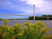 Omaha Suspension Bridge Royalty Free Stock Images