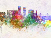 Omaha V2 skyline in watercolor background stock illustration