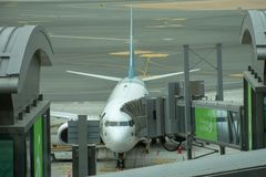 Oman Air Airplane parks at the Muscat International Airport stock images