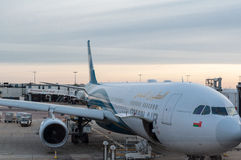 Oman air on Heathrow airport Royalty Free Stock Images