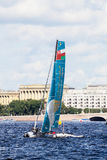 Oman Air (OMA) catamaran on Extreme Sailing Series Act 5 catamarans race on 1th-4th September 2016 in St. Petersburg Royalty Free Stock Photo