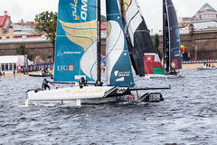 Oman Air (OMA) catamaran on Extreme Sailing Series Act 5 catamarans race on 1th-4th September 2016 in St. Petersburg Stock Photo