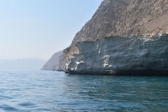 Oman. A beautiful view of  crystalline blue water in a place called Musandam near Oman Royalty Free Stock Images