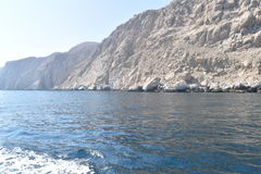 Oman. A beautiful view of  crystalline blue water in a place called Musandam near Oman Stock Photography