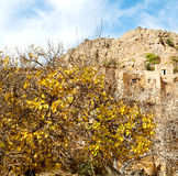 in Oman-Berg das alte verlassene Dorfbogenhaus und -cl Lizenzfreie Stockfotografie