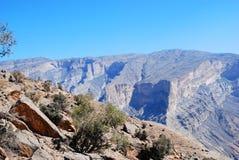 Oman berglandskap av den omanska stora kanjonen Arkivfoton