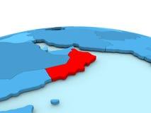 Oman on blue globe Royalty Free Stock Photography