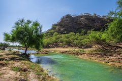 Oman Darbat i wadi, widok górski obrazy royalty free
