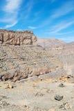 in Oman der alte Gebirgsschluchthimmel Stockbild