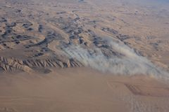Oman desert, aereal view. Stock Photos
