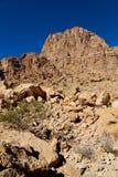 in Oman die alte Gebirgsschlucht und -schlucht der tiefe bewölkte Himmel Stockbild