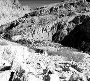 in Oman die alte Gebirgsschlucht und -schlucht der tiefe bewölkte Himmel Lizenzfreie Stockfotos