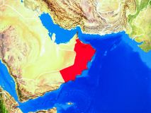 Oman on Earth with borders. Oman from space on model of planet Earth with country borders and very detailed planet surface. 3D illustration. Elements of this stock photography