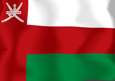Oman Flag. Rendering of a waving flag of Oman with accurate colors and design and a fabric texture Vector Illustration