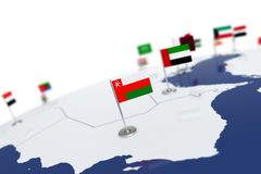 Oman flag. Country flag with chrome flagpole on the world map with neighbors countries borders. 3d illustration rendering flag Royalty Free Stock Images