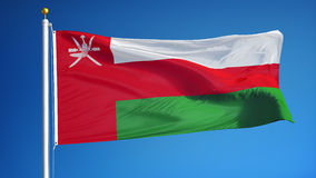 Oman flag in slow motion seamlessly looped with alpha stock footage