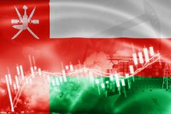 Oman flag, stock market, exchange economy and Trade, oil production, container ship in export and import business and logistics. Asia, asian, background stock illustration