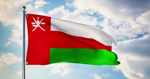 Oman flag waving in the wind shows omanian symbol of patriotism - 4k 3d render. Oman flag waving in the wind shows omanian symbol of patriotism. Flagpole with stock footage