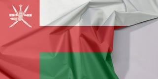 Oman-Gewebeflaggenkrepp und -falte mit Leerraum stockbilder