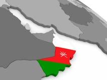 Oman on globe with flag Royalty Free Stock Photo
