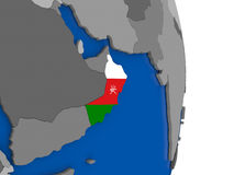 Oman on globe with flag Royalty Free Stock Photography