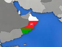 Oman on globe Royalty Free Stock Image