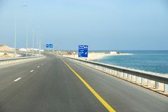 Oman highway. Road tripping in Oman - The new highway from Muscat to Sur Stock Image
