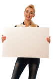 Oman holding blank card banner isolated over white background Stock Photo
