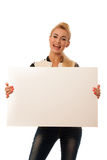 Oman holding blank card banner isolated over white background Royalty Free Stock Images