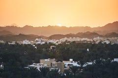 Oman krajobraz przy zmierzchem obrazy stock