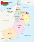 Oman  map with flag Stock Image