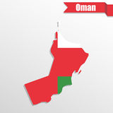 Oman map with flag inside and ribbon Stock Photos
