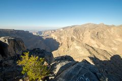 Oman Mountains at Jabal Akhdar in Al Hajar Mountains royalty free stock photo