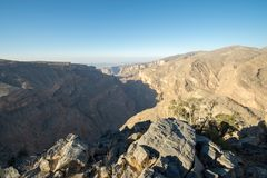 Oman Mountains at Jabal Akhdar in Al Hajar Mountains royalty free stock image