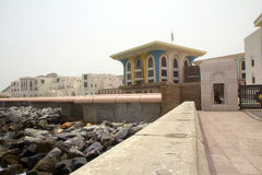 Oman. Muscat. Al Alam Palace. Al-Alam - the Royal Palace, situated between the two FORTS-twins on the shore of the Gulf of Oman in Muscat Royalty Free Stock Photography