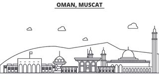 Oman, Muscat architecture line skyline illustration. Linear vector cityscape with famous landmarks, city sights, design. Icons. Editable strokes stock illustration