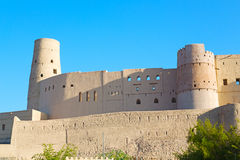 in oman    muscat    the   old defensive  fort battlesment sky a Royalty Free Stock Photography