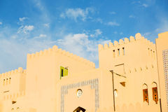 in oman    muscat    the   old defensive  fort battlesment sky a Stock Images