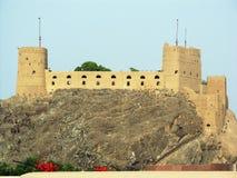 Oman, Muscateldruif: XVI eeuw Portugees Fort al-Jalali stock foto