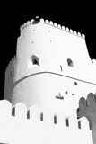 in Oman-Muskatellertraube der alte defensive Fort battlesment Himmel und das St. Stockbild