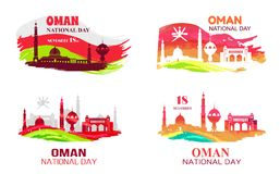 Oman National Day 18 November Vector Illustration. Oman national day held on 18 november, picture demonstrating mosques, titles and flags vector illustration Stock Photography