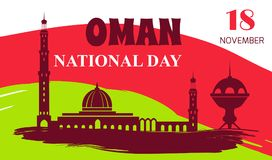 Oman National Day 18 November Vector Illustration. Oman National Day 18 November colorful poster with silhouette of mosque and other architectural objects Royalty Free Stock Photo