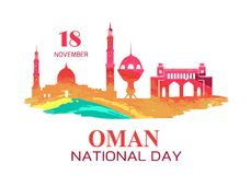 Oman National Day Symbol with Silhouette of Mosque. Oman National Day symbol with silhouettes of mosque and city towers, traditional architectural objects vector vector illustration