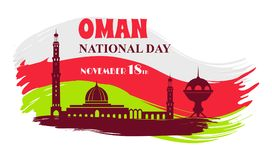 Oman National Day 18 th Symbol Vector Illustration Royalty Free Stock Image