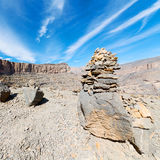 in oman  the old mountain gorge and canyon the deep cloudy sky Stock Image