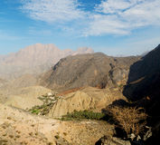 in oman  the old mountain gorge and canyon the deep cloudy  sky Stock Photo